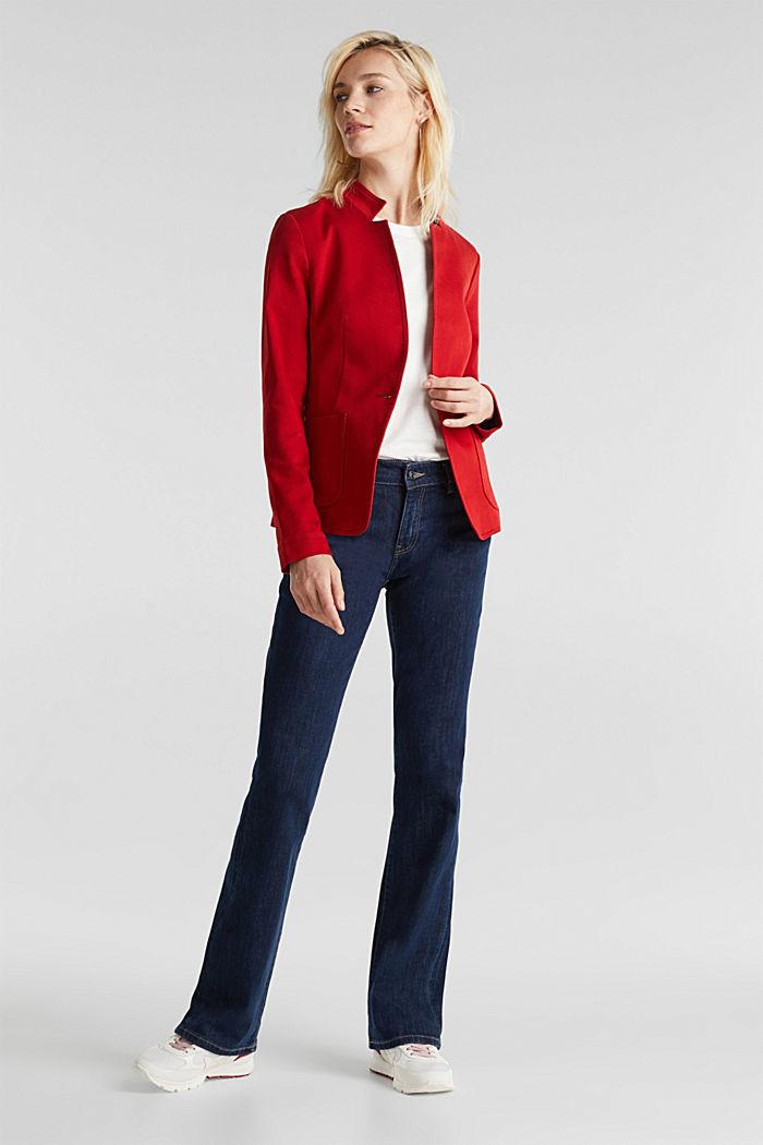 Blazer with an adjustable collar, stretch cotton, DARK RED, detail image number 1