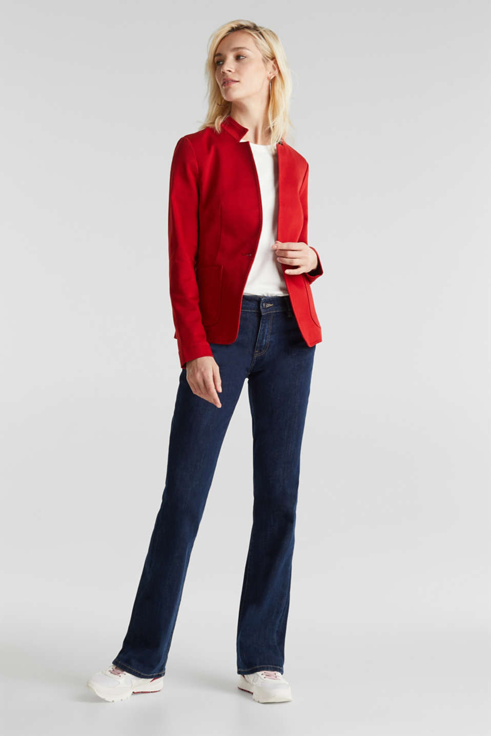 Blazer with an adjustable collar, stretch cotton, DARK RED, detail image number 1