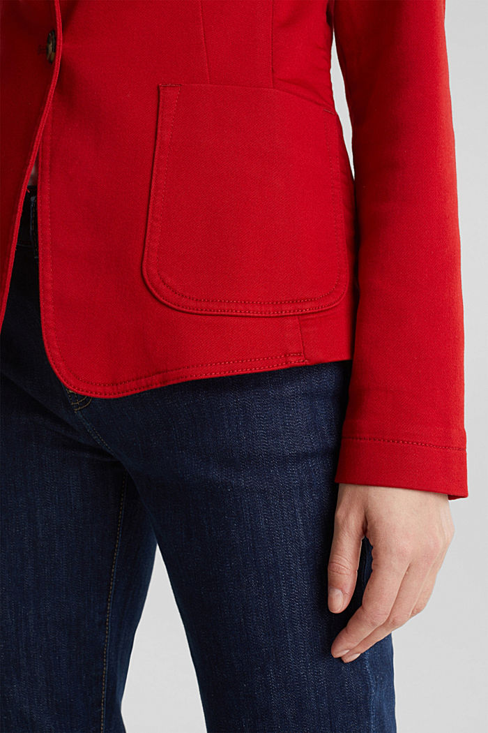 Blazer with an adjustable collar, stretch cotton, DARK RED, detail image number 4