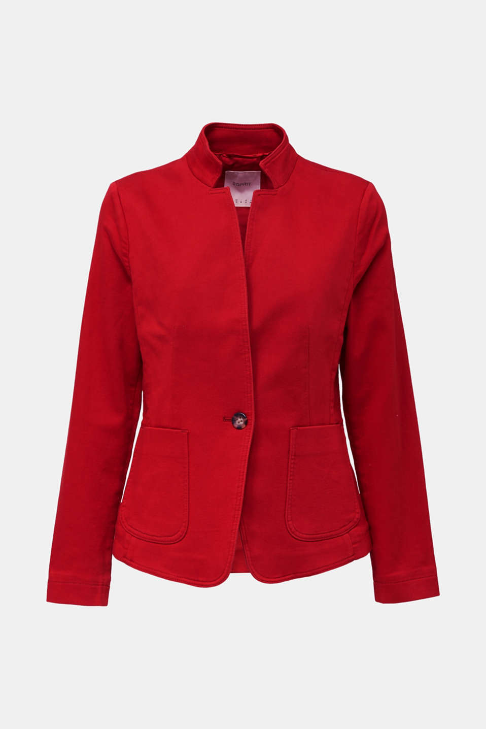 Blazer with an adjustable collar, stretch cotton, DARK RED, detail image number 7