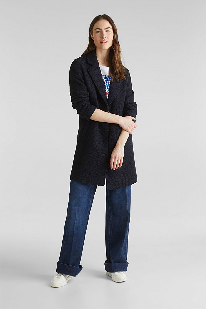 Coats with a fashionable texture, NAVY, detail image number 1