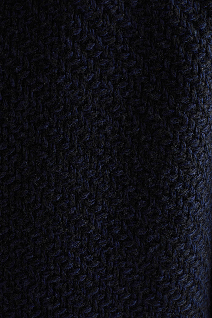 Coats with a fashionable texture, NAVY, detail image number 4