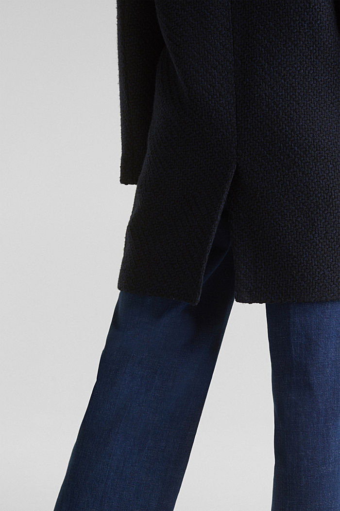 Coats with a fashionable texture, NAVY, detail image number 5