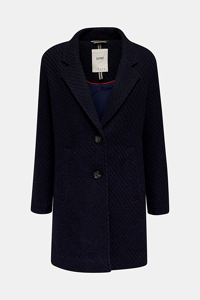 Coats with a fashionable texture, NAVY, detail image number 7