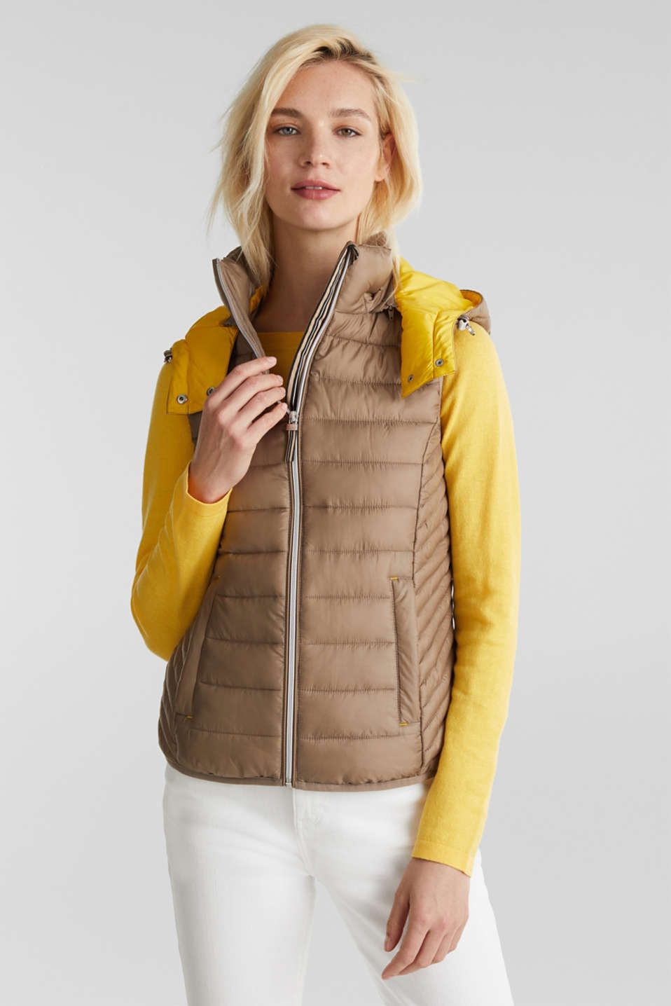 Hooded quilted body warmer with 3M™ Thinsulate™ filling, TAUPE, detail image number 0