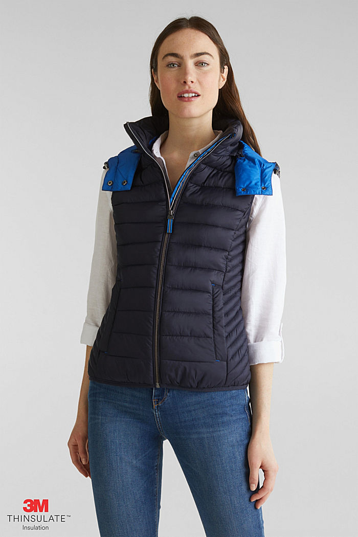 Hooded quilted body warmer with 3M™ Thinsulate™ filling, NAVY, detail image number 0
