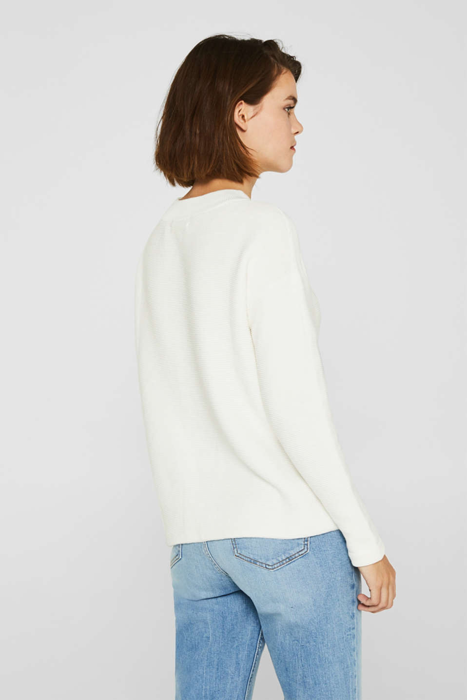 Jumper with a ribbed texture, OFF WHITE, detail image number 2