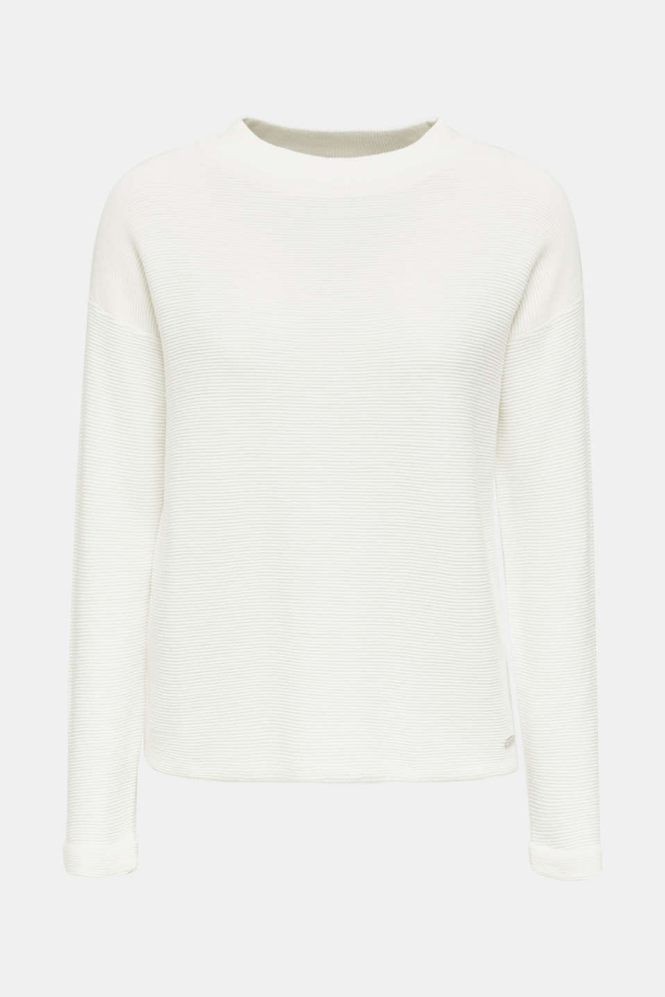 Jumper with a ribbed texture, OFF WHITE, detail image number 6