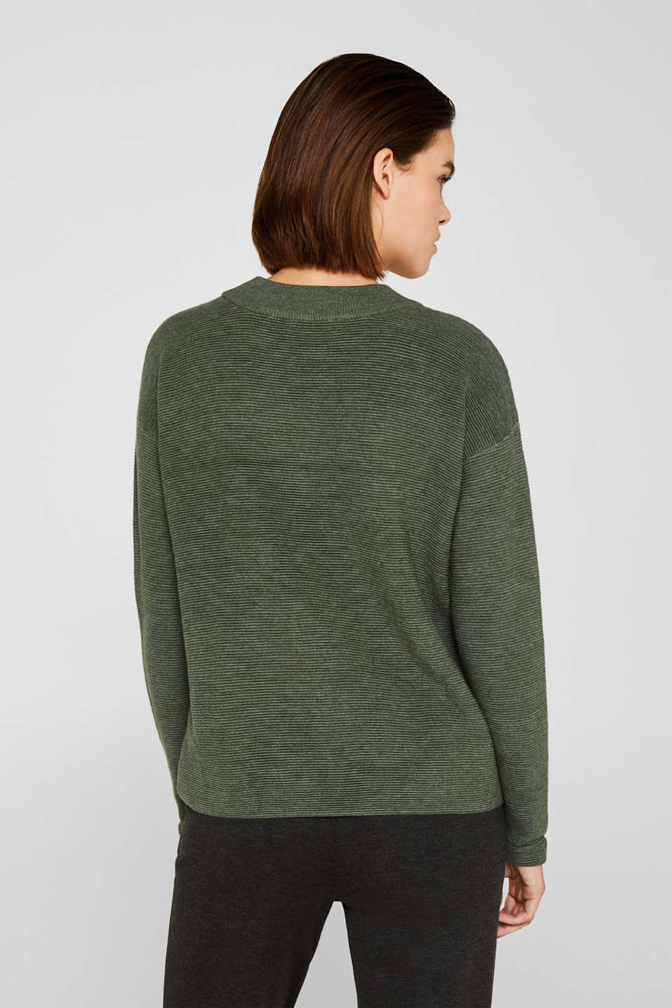 Jumper with a ribbed texture, KHAKI GREEN 5, detail image number 3