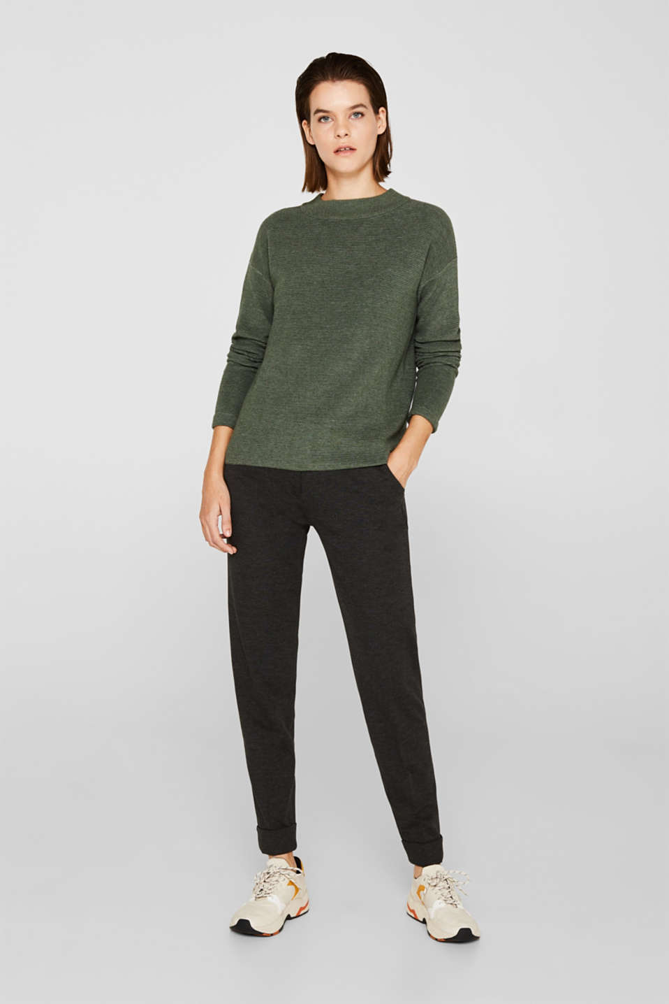 Jumper with a ribbed texture, KHAKI GREEN 5, detail image number 6