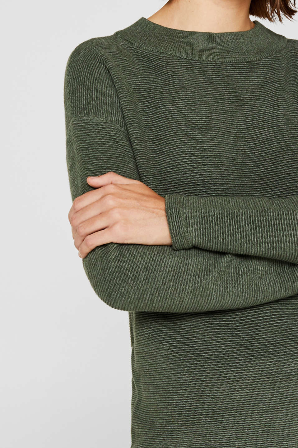 Jumper with a ribbed texture, KHAKI GREEN 5, detail image number 2