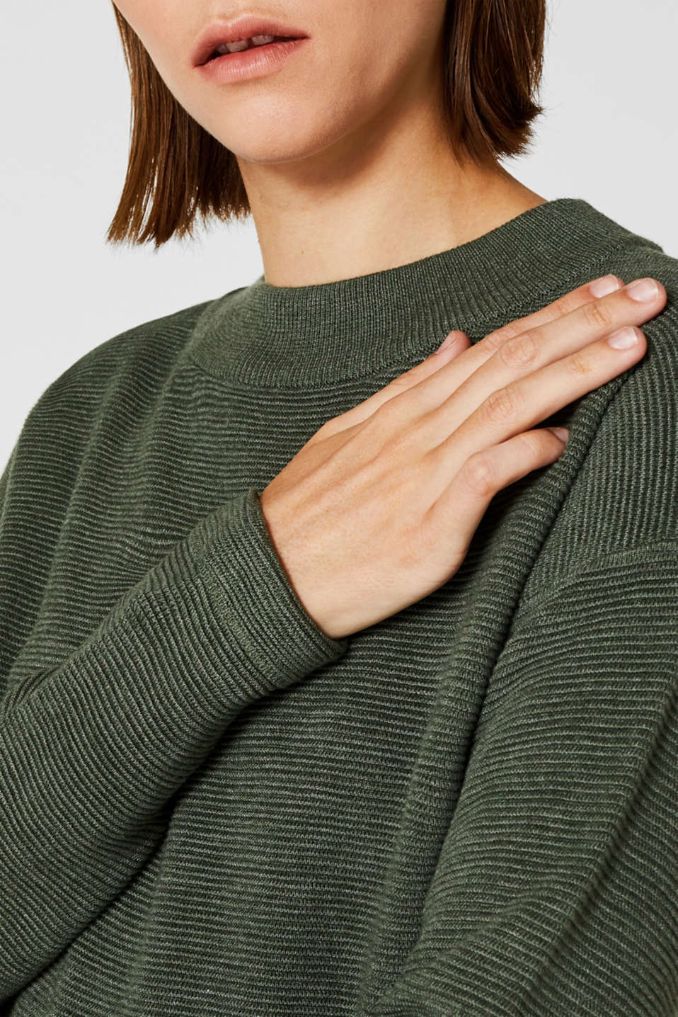 Jumper with a ribbed texture, KHAKI GREEN 5, detail image number 5