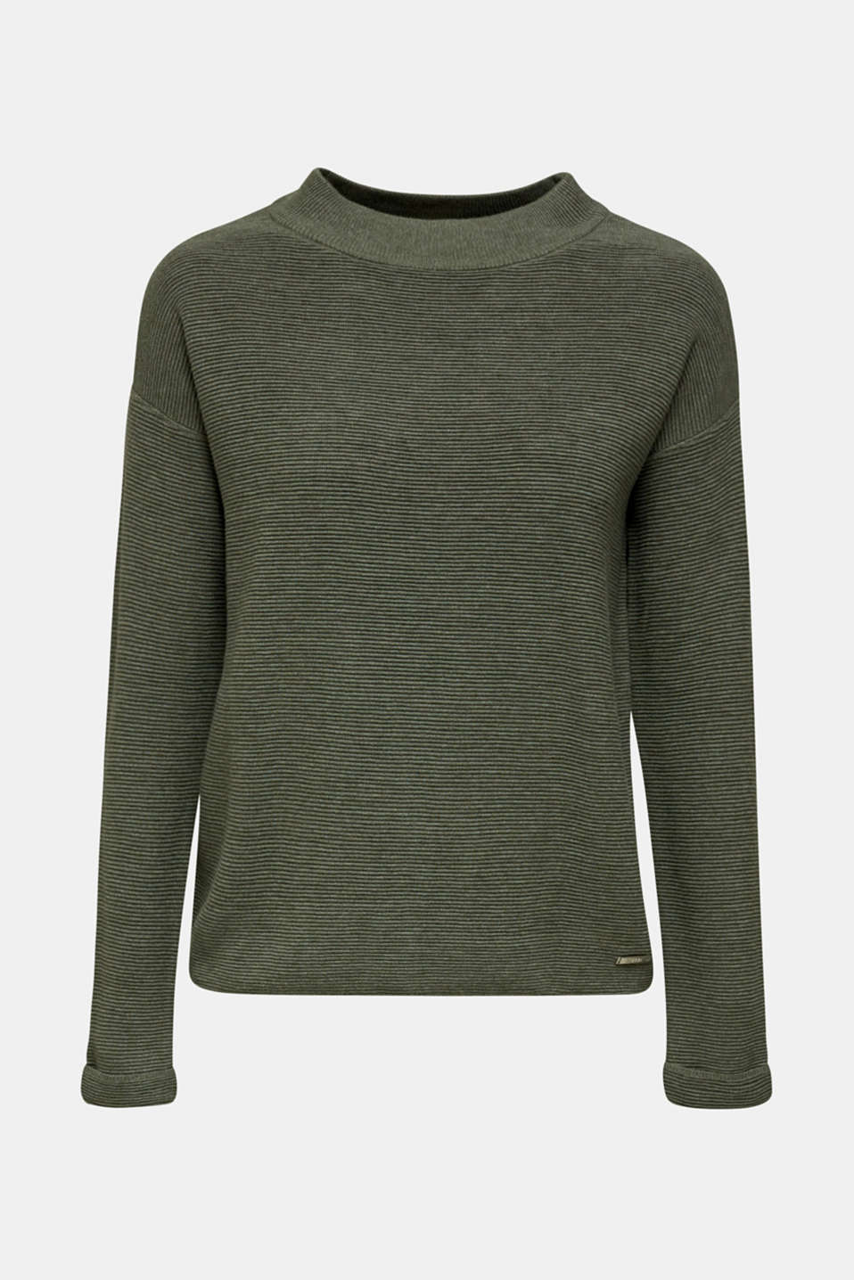 Jumper with a ribbed texture, KHAKI GREEN 5, detail image number 7