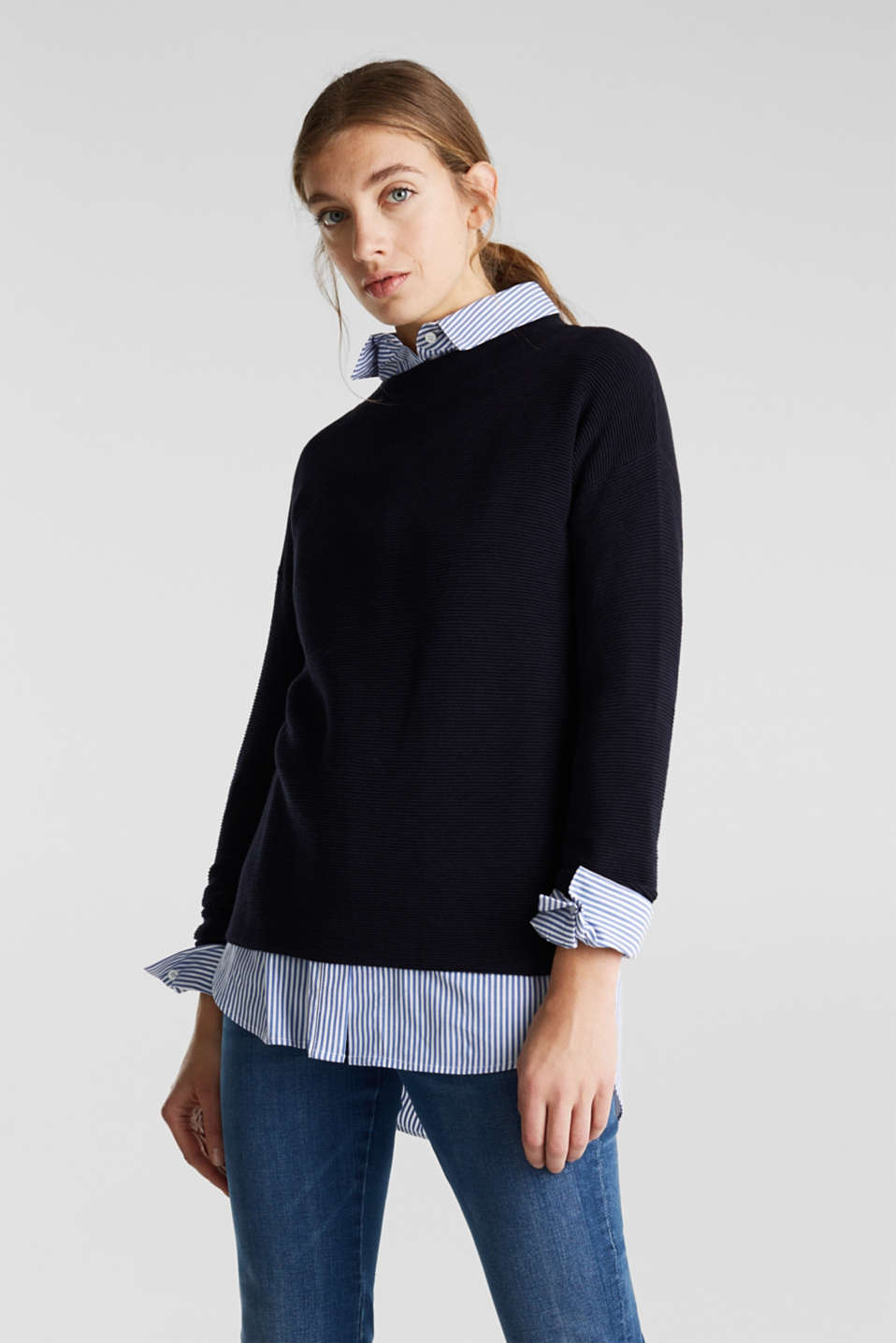 Jumper with a ribbed texture, NAVY, detail image number 0