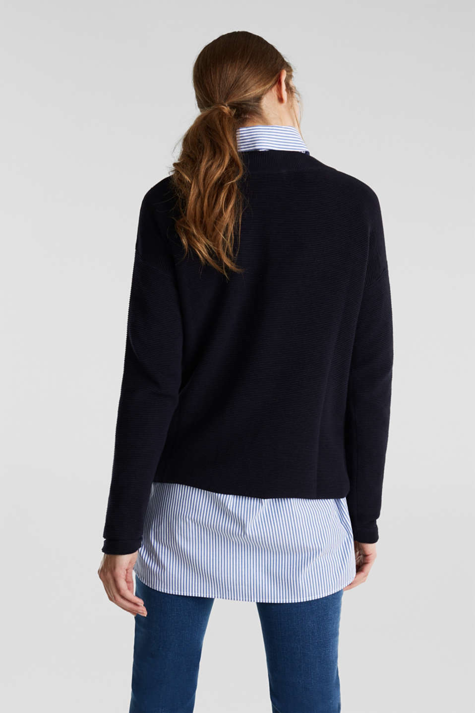 Jumper with a ribbed texture, NAVY, detail image number 3