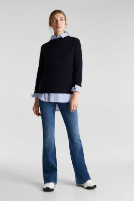 Jumper with a ribbed texture, NAVY, detail
