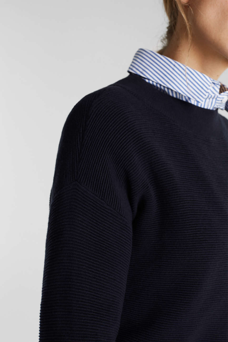 Jumper with a ribbed texture, NAVY, detail image number 2
