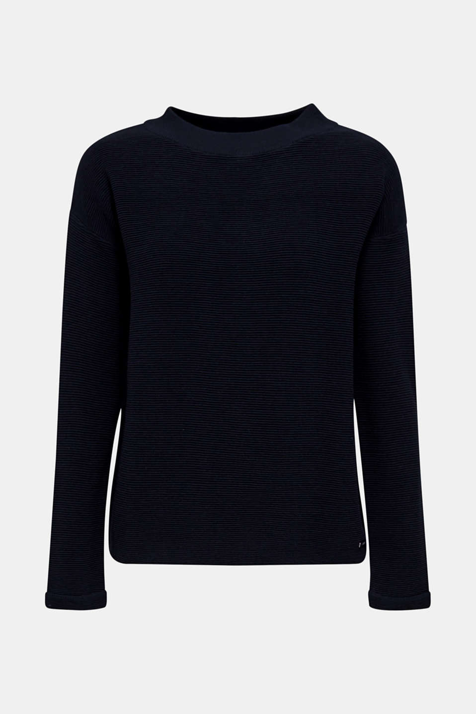 Jumper with a ribbed texture, NAVY, detail image number 7