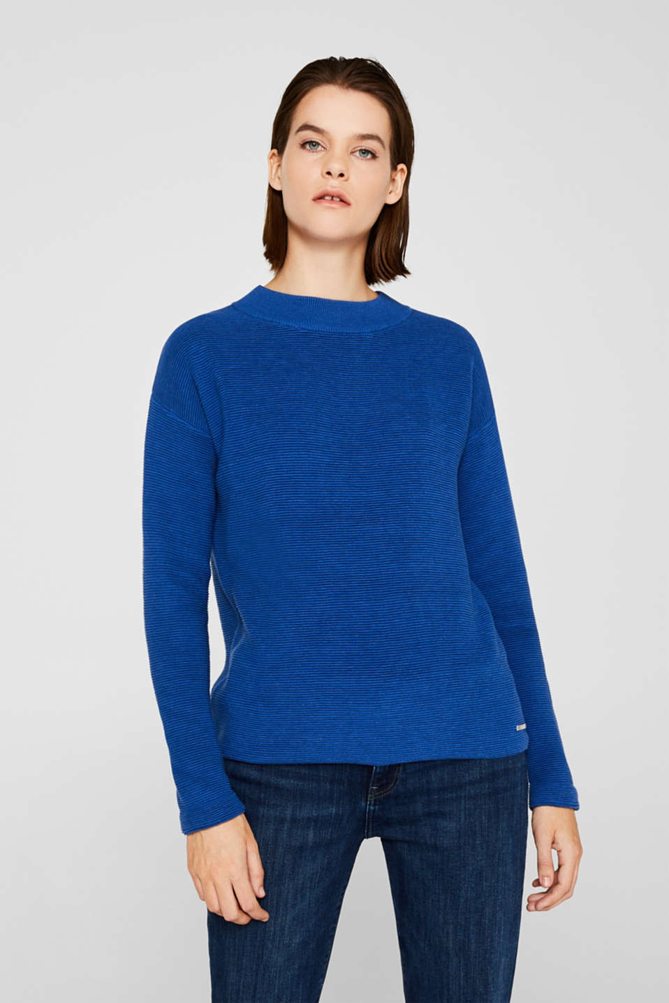 Jumper with a ribbed texture, BRIGHT BLUE, detail image number 0