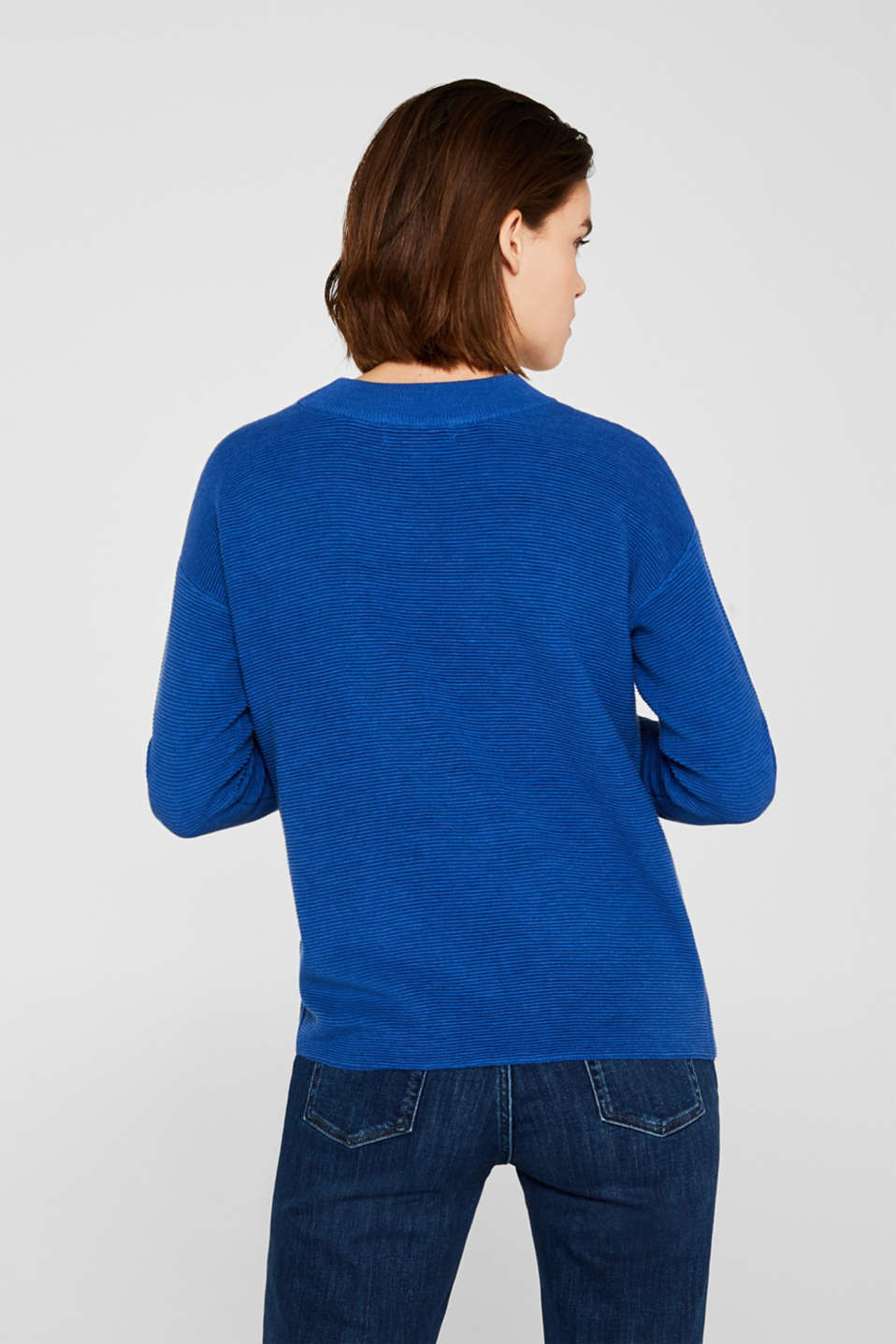 Jumper with a ribbed texture, BRIGHT BLUE, detail image number 3