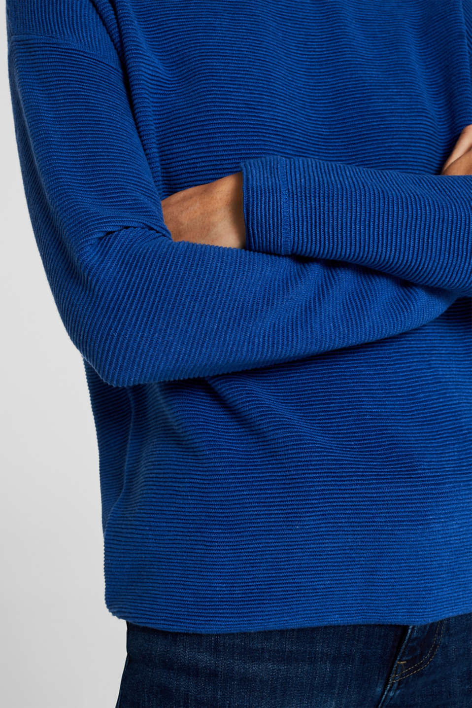 Jumper with a ribbed texture, BRIGHT BLUE, detail image number 5