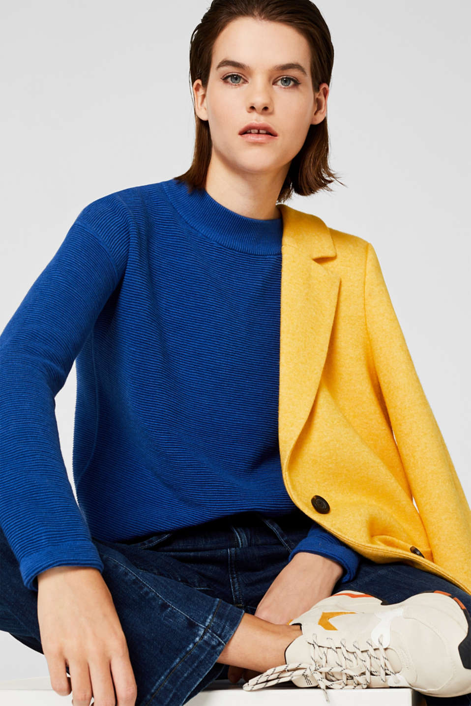 Jumper with a ribbed texture, BRIGHT BLUE, detail image number 6
