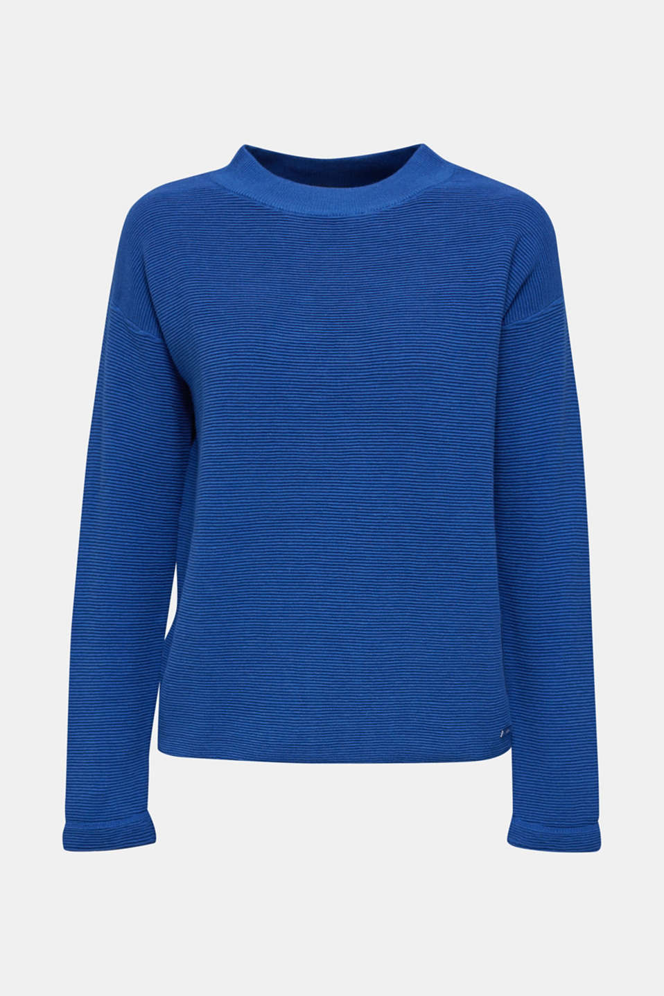 Jumper with a ribbed texture, BRIGHT BLUE, detail image number 7