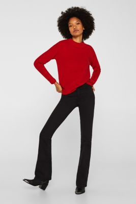 Jumper with a ribbed texture, DARK RED, detail