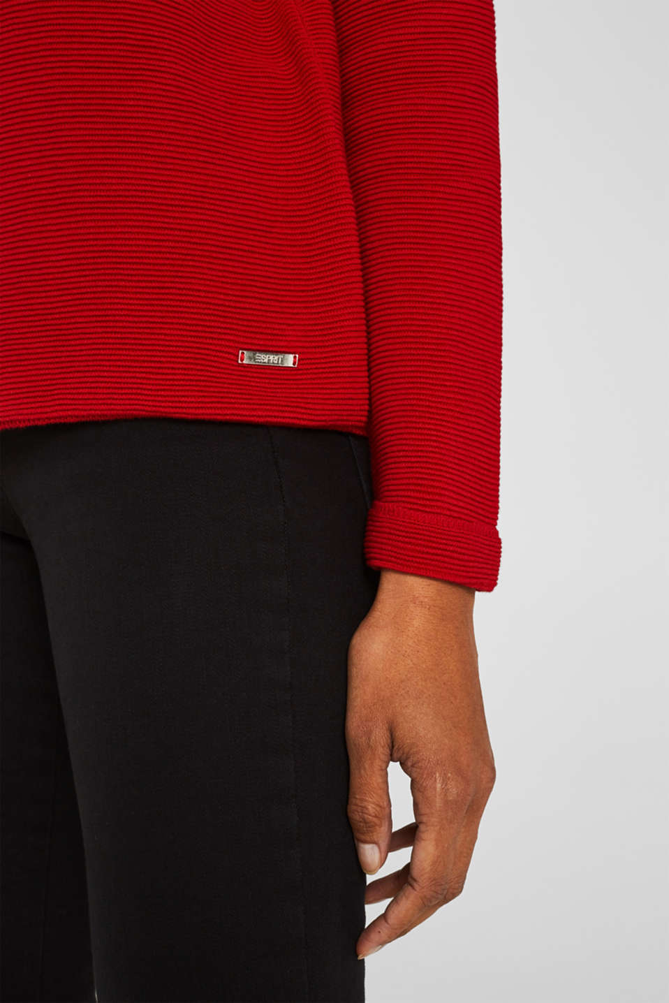 Jumper with a ribbed texture, DARK RED, detail image number 2