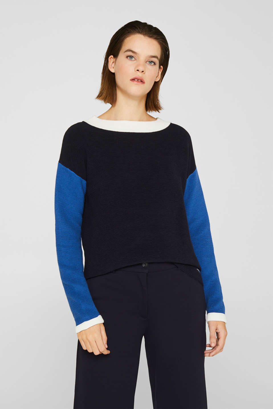 Colour block jumper with a ribbed texture, NAVY 2, detail image number 0
