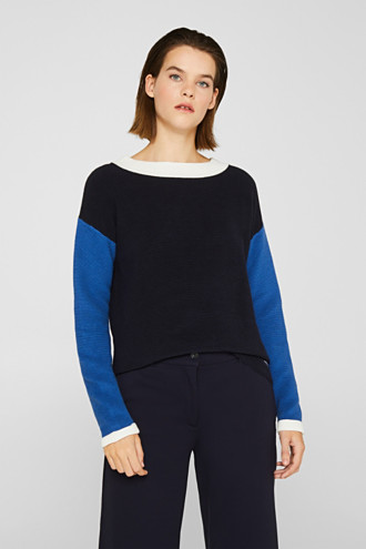 Colour block jumper with a ribbed texture