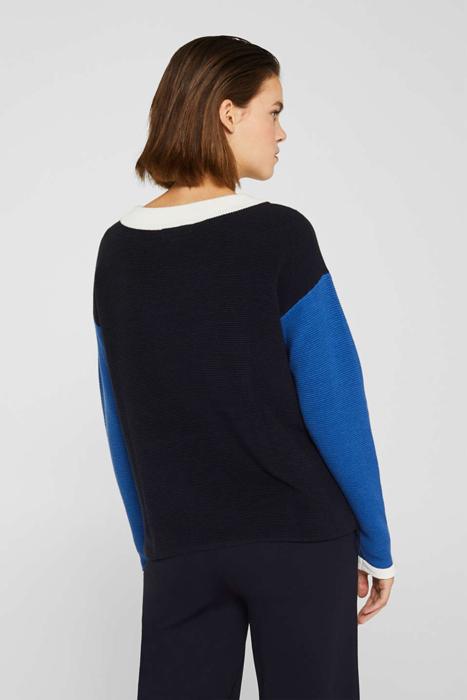Colour block jumper with a ribbed texture, NAVY 2, detail image number 3