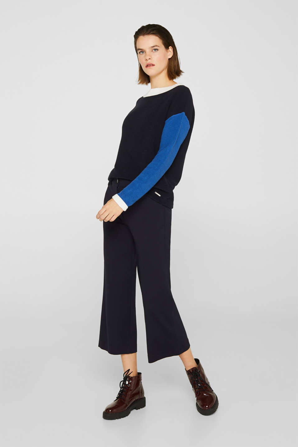 Colour block jumper with a ribbed texture, NAVY 2, detail image number 5
