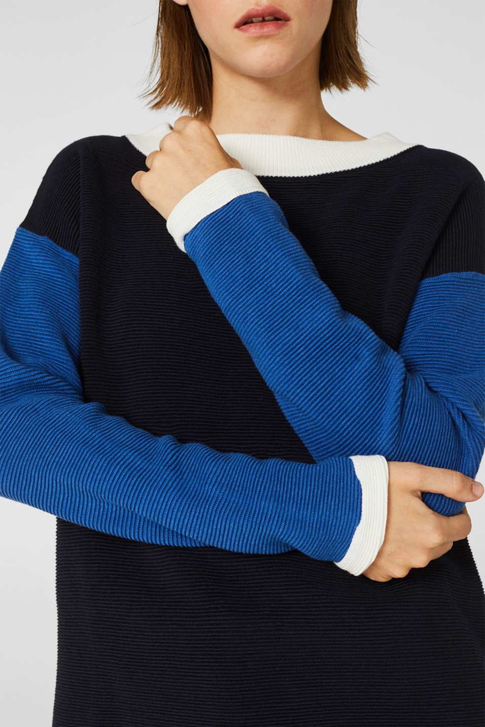Colour block jumper with a ribbed texture, NAVY 2, detail image number 2