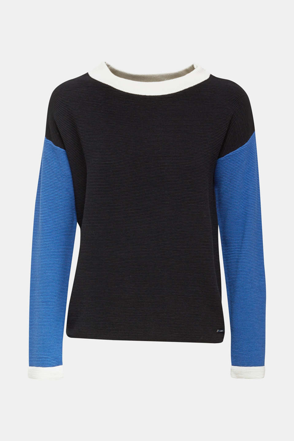 Colour block jumper with a ribbed texture, NAVY 2, detail image number 6