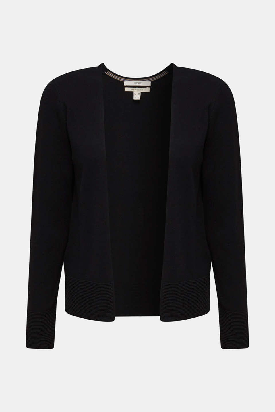 Fine knit cardigan with ribbed trims, BLACK, detail image number 5