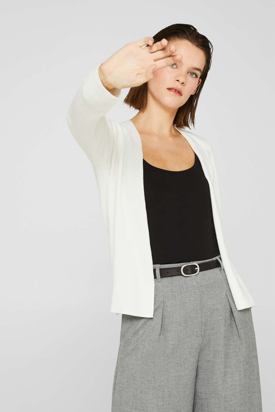 Fine knit cardigan with ribbed trims, OFF WHITE, detail image number 0