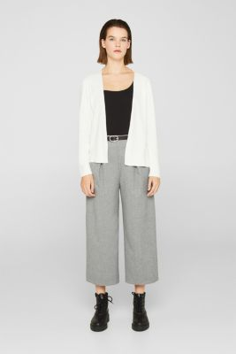 Fine knit cardigan with ribbed trims, OFF WHITE, detail