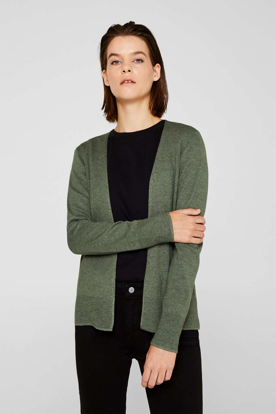 Fine knit cardigan with ribbed trims, KHAKI GREEN 5, detail image number 0