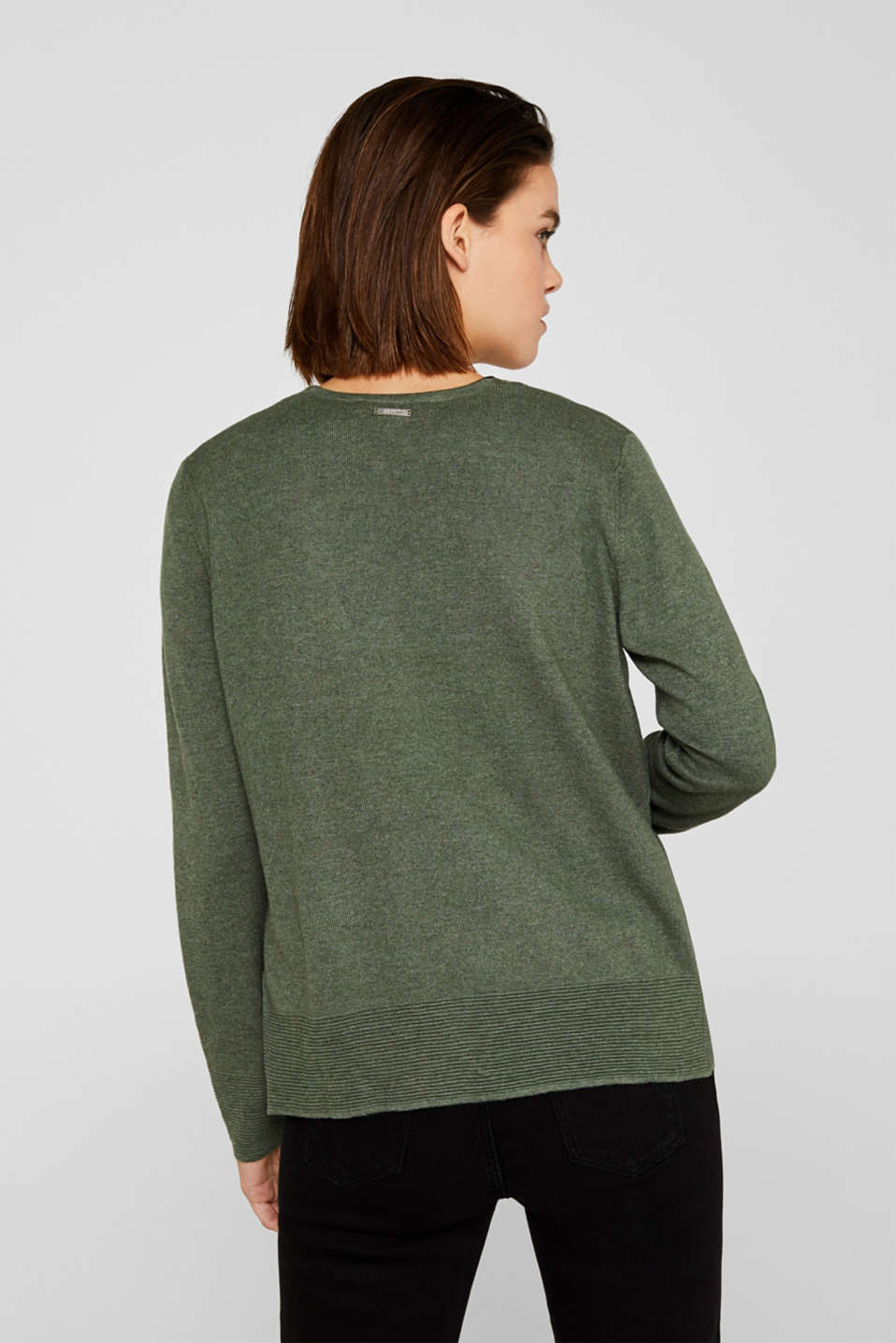 Fine knit cardigan with ribbed trims, KHAKI GREEN 5, detail image number 3