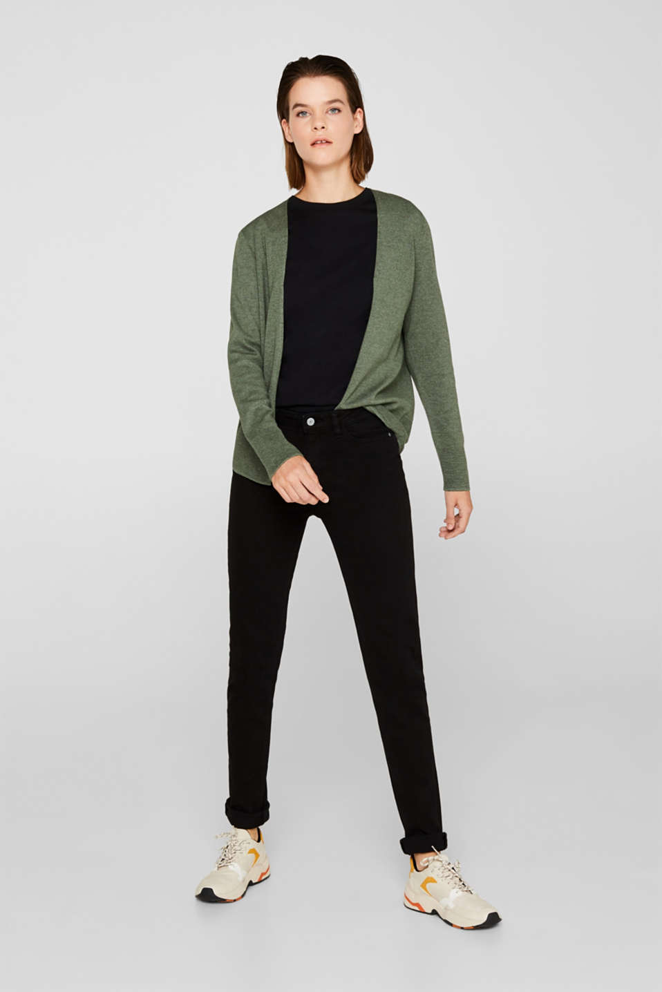 Fine knit cardigan with ribbed trims, KHAKI GREEN 5, detail image number 1