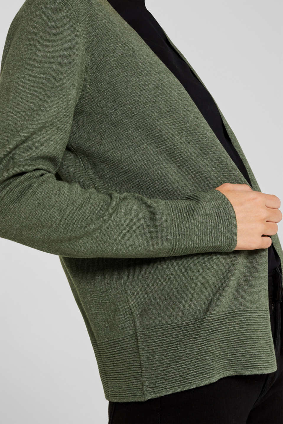 Fine knit cardigan with ribbed trims, KHAKI GREEN 5, detail image number 5
