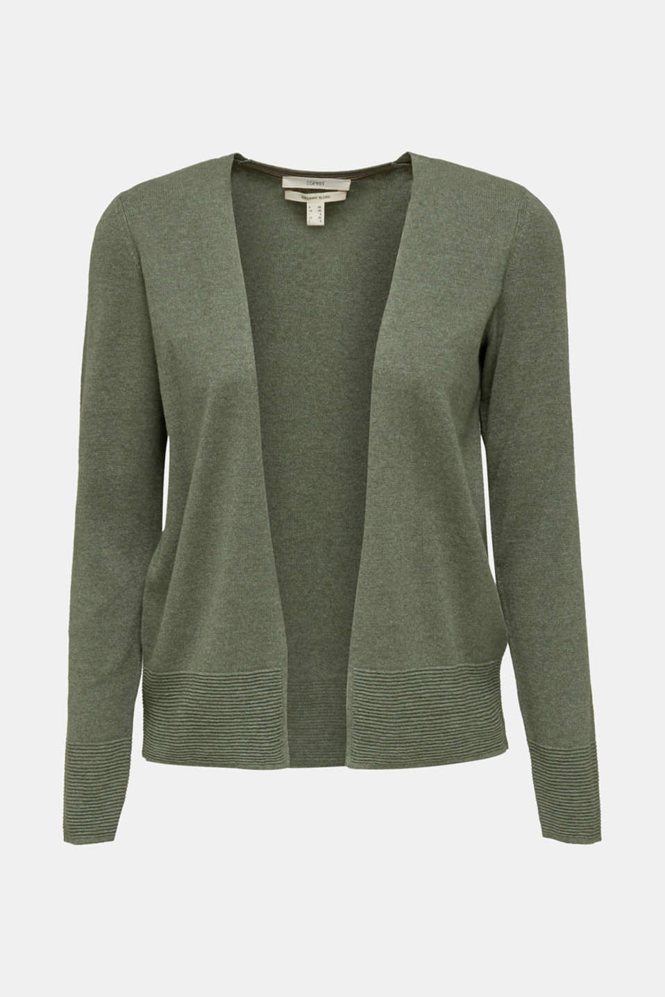 Fine knit cardigan with ribbed trims, KHAKI GREEN 5, detail image number 6
