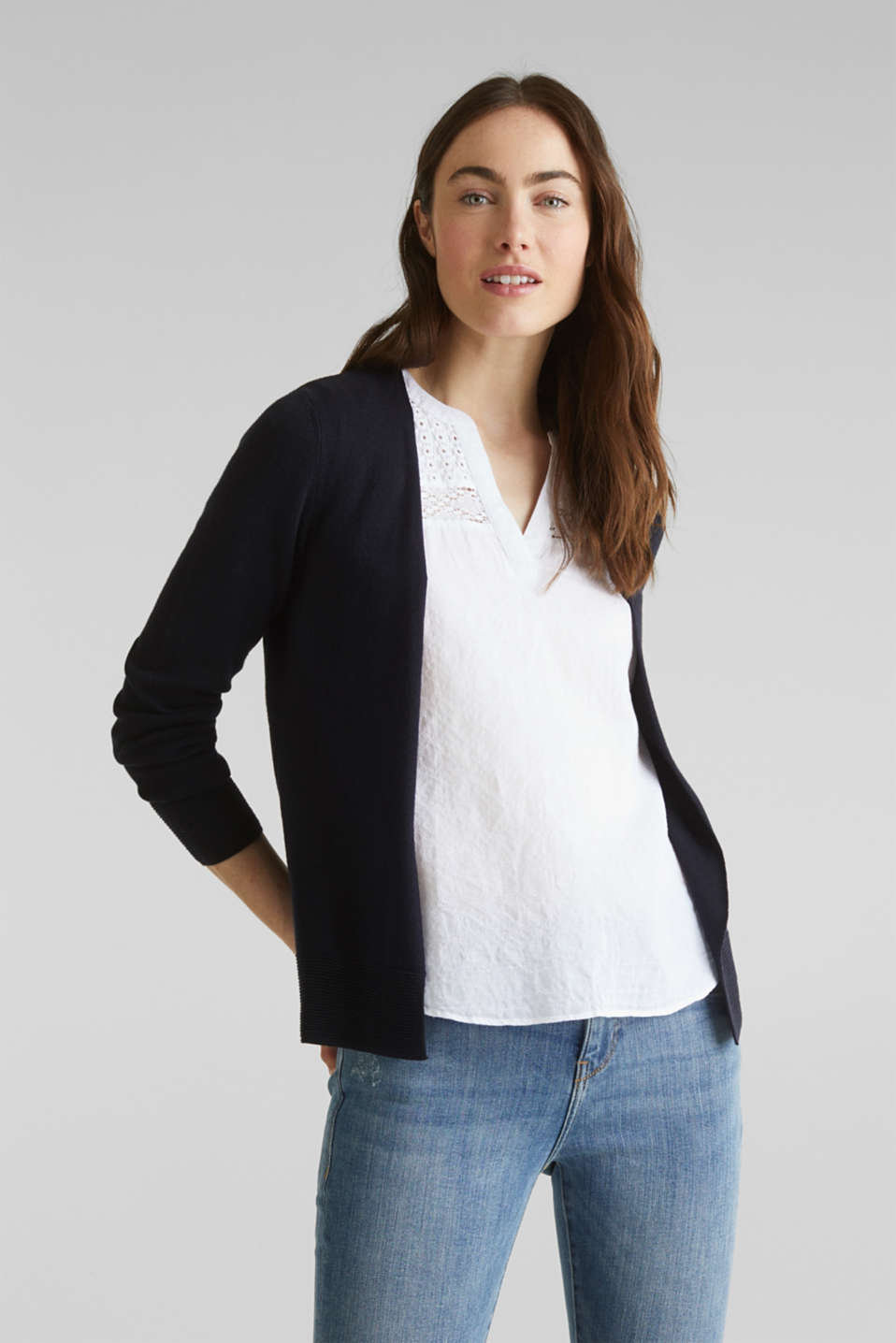 Fine knit cardigan with ribbed trims, NAVY, detail image number 0