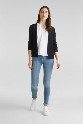 Fine knit cardigan with ribbed trims, NAVY, detail