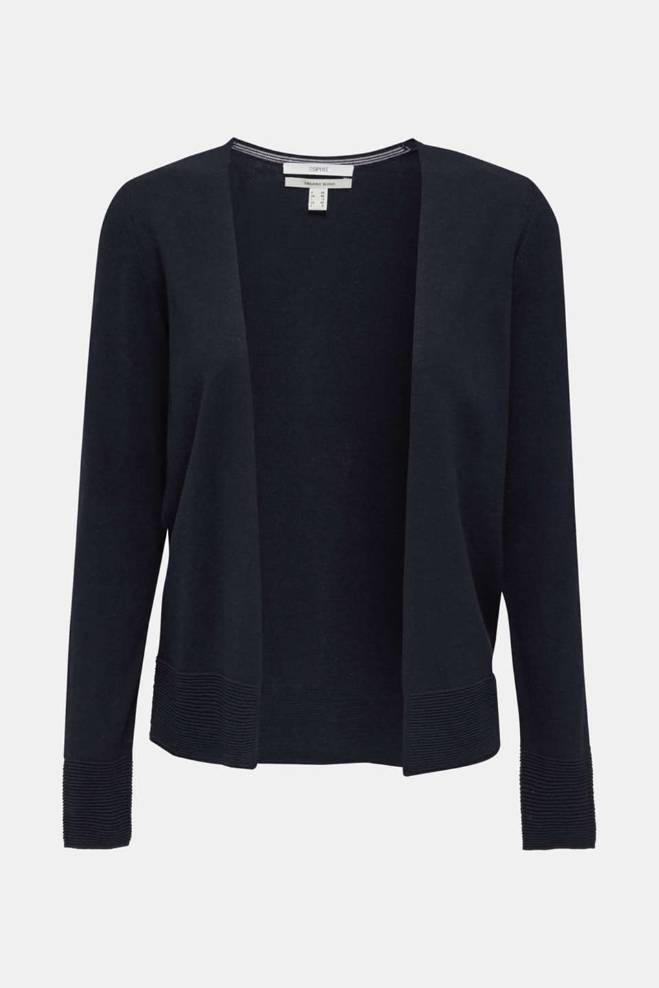 Fine knit cardigan with ribbed trims, NAVY, detail image number 6