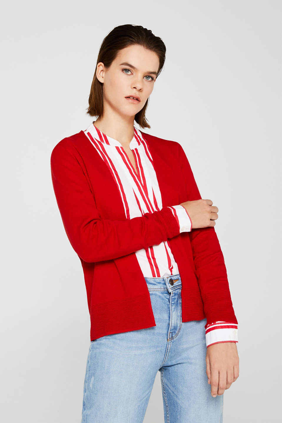 Fine knit cardigan with ribbed trims, DARK RED, detail image number 0