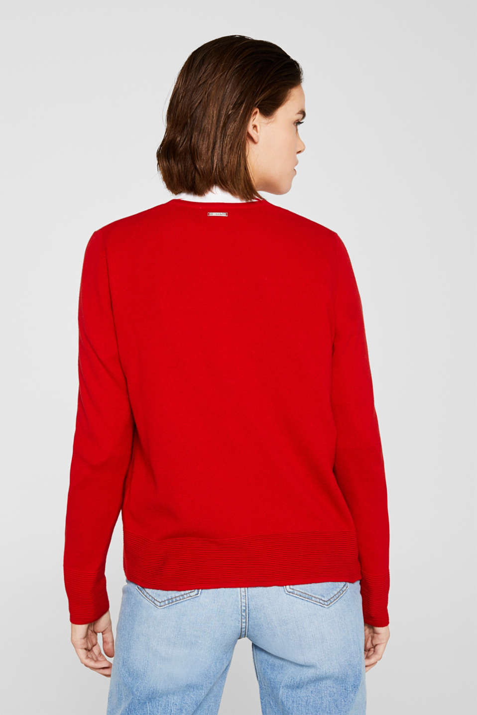Fine knit cardigan with ribbed trims, DARK RED, detail image number 3