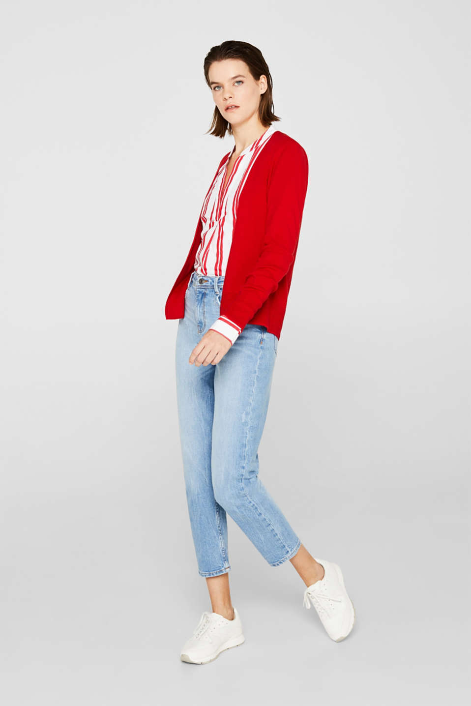 Fine knit cardigan with ribbed trims, DARK RED, detail image number 4
