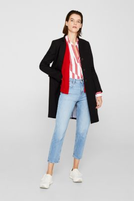 Fine knit cardigan with ribbed trims, DARK RED, detail